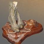 A Saturday Night Social - Wood Sculpture - Center