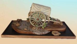 Wooden Wagon Sculpture by Darwin Dower