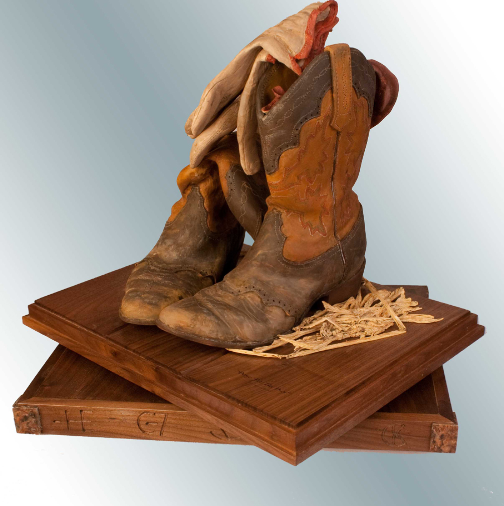 Wood Sculpture of Leather Boots by Darwin Dower